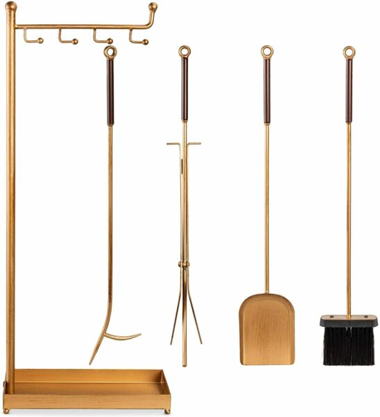 5 Piece Modern Contemporary Fireplace Tool Set for Indoor Fireplace Decor
