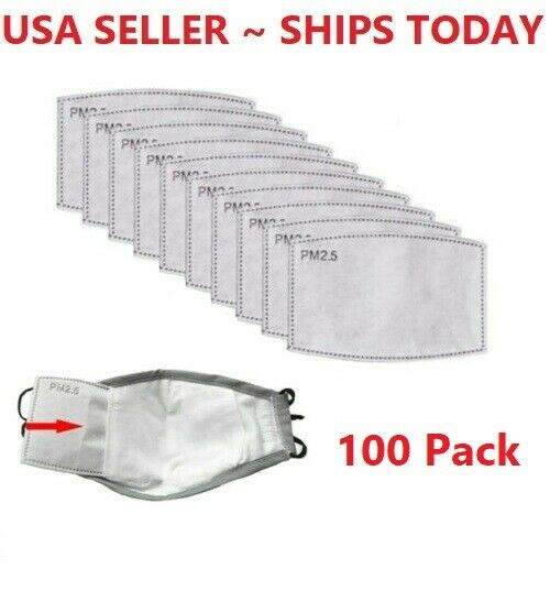 100 pcs Adult PM2.5 Activated Carbon 5 Layer Face Mask Replacement Filters Bulk $10.98