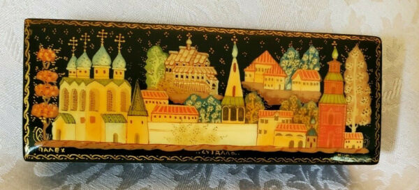 Vintage Palekh Russian Black Lacquer Wood Hinged Box Hand Painted Suzdal Skyline