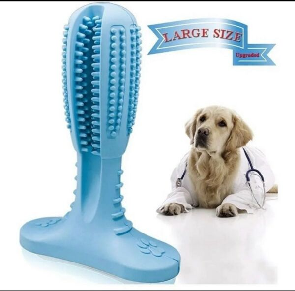 For Pet Dog Toys Aggressive Chewers Teeth Cleaning Oral Toothbrush Rubber Bone $7.99