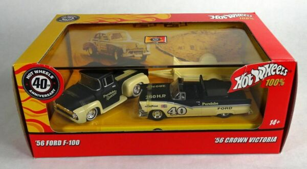 Hot Wheels Retro Racing #x27;56 Ford f 100 w trailer and #x27;56 Crown Victoria $44.95