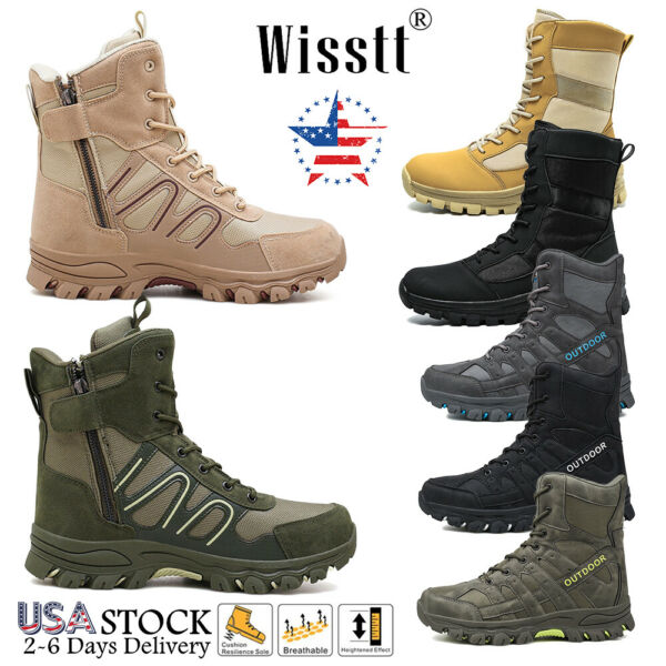 Men#x27;s Military Tactical Hiking Boots Side Zip Walking Army Jungle Desert Shoes