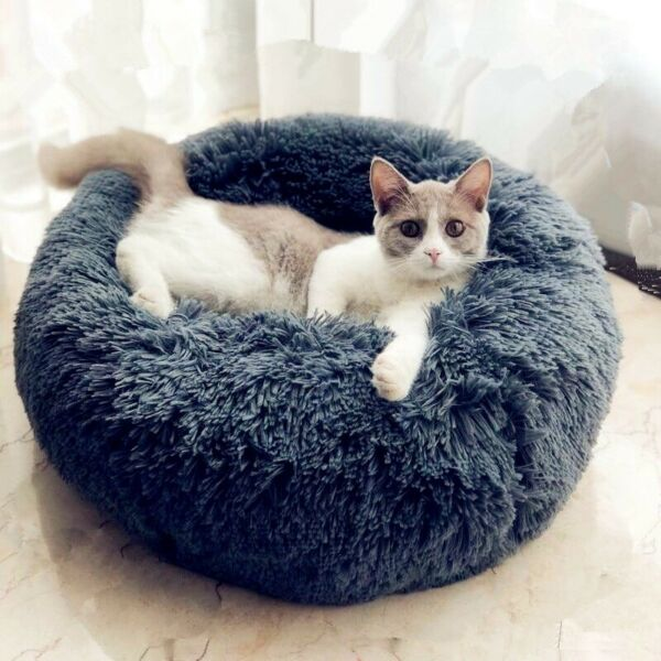 Round Pet Beds Dog Cat Warm Soft Cushion Animal Sleeping Sofa Small Puppy Bed $18.89