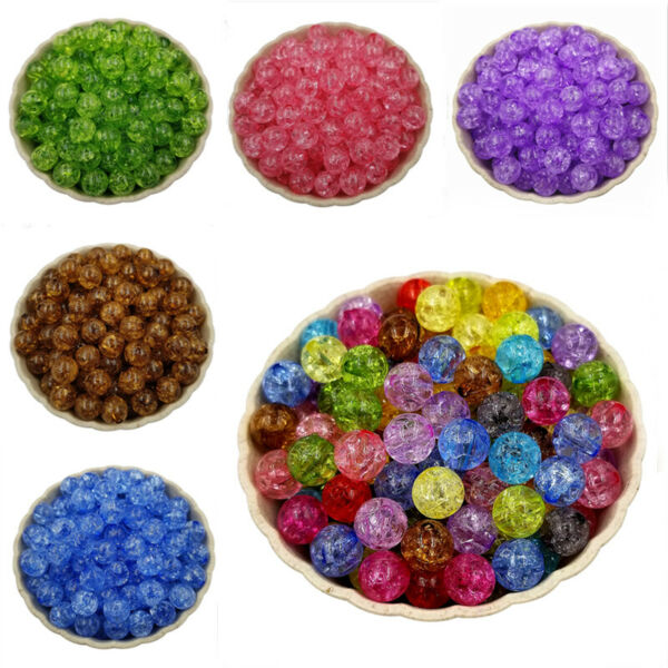 20Pcs 8mm Crackle Loose Bead Spacer Beads DIY Jewelry Accessories Pendant C $0.99