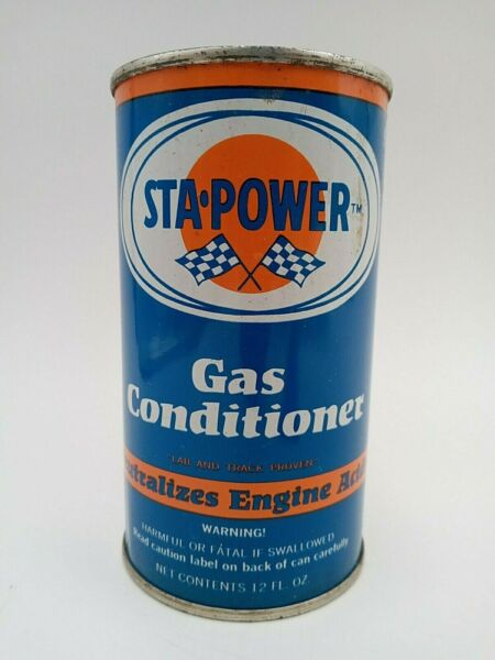 Vintage 1960#x27;s 60s Sta Power Gas Conditioner Metal Oil Can 12 oz Unopened Full $24.95