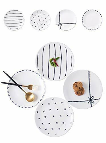 4 Piece 8quot; Round Dinner Plate Set Appetizer Ceramic Dishes Microwave Oven ... $35.94