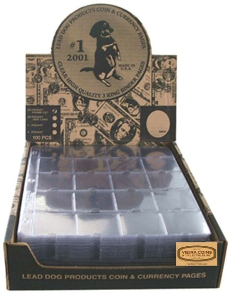 100 LEAD DOG 20 pocket HEAVY DUTY binder pages for 2x2 coin flips #28750 $78.99