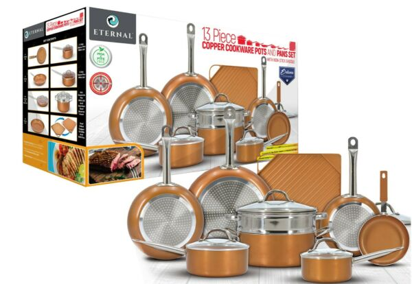 Eternal Copper Cookware Pots and Pan Set 13 Pieces with Non Stick Griddle