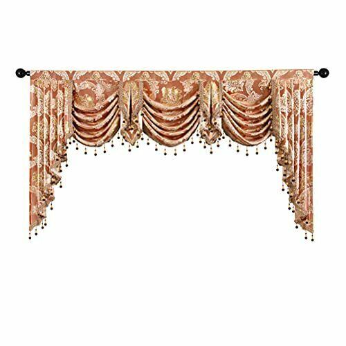Jacquard Waterfall Valance for Bedroom Damask Coffee Curtain Valance for Livi...