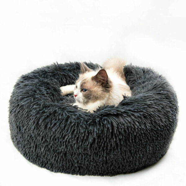 15.7in Calming Pet Beds Anti Anxiety Fluffy Cats Dogs Bed Cuddler Washable Gray $19.78