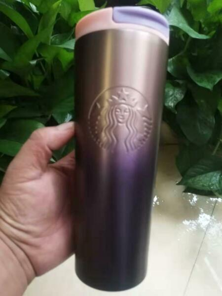 New Starbucks Coffee Cup Tumbler w Lid Double Stainless Steel 16oz