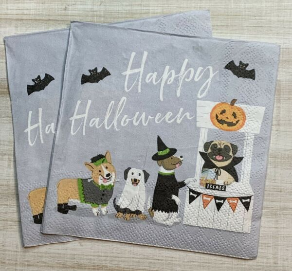 TWO Individual Paper Cocktail Decoupage Napkins HALLOWEEN DOGS Treats $2.25