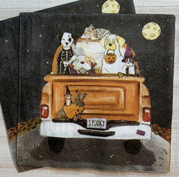 TWO Individual Paper Cocktail Decoupage Napkins HALLOWEEN Dogs In Truck $2.25