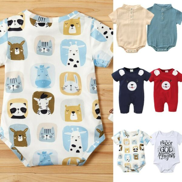 Newborn Toddler Baby Girlsamp;Boys Cartoon Solid Romper Jumpsuits Bodysuits Clothes
