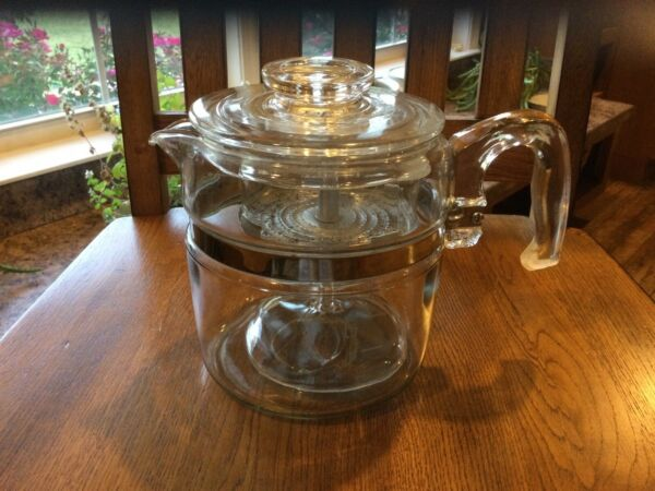 VTG Flameware Pyrex Glass Percolator Coffee Pot 6 Cup # 7756 B Complete 5 Pieces