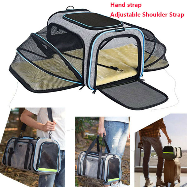 Pet Dog Small Cat Carrier Soft Sided Comfort Bag Travel Case Airline Approved $26.85