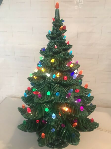Vintage Christmas LARGE Ceramic Tree 23 1 2 Inches Tall 4 Piece Atlantic Mold $274.99