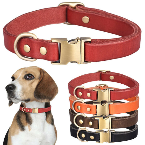 Real Leather Dog Collar Pet Cat Puppy Leather Neck Strap Adjustable Soft Collars $10.89