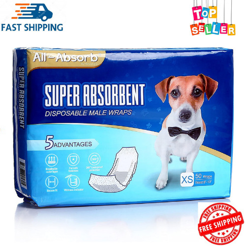 Waist Disposable Dog Diapers Male Wraps Belly Bands Pet Soft XS Size 50 Pack $21.48