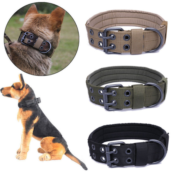 Tactical Dog Collar Military With Metal Buckle Large Dog Heavy Duty Nylon Chain $12.89