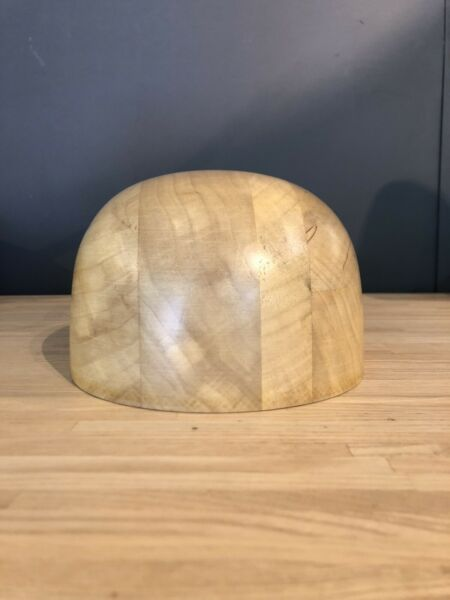 Open Crown Wood Hat Block size 58cm Hand Carved New size 7 1 4