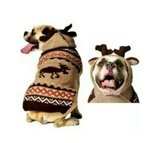 CHILLY DOG Moose Moosey Hoodie Dog Sweater Sz L 28 40 LBS Hand Knit Wool NWT $39.00