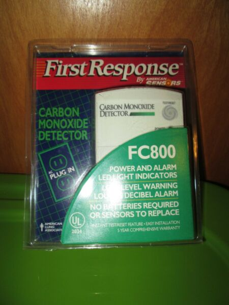 FIRST RESPONSE FC800 carbon monoxide detector PLUG IN NEW PACKAGE NO BATTERIES $21.38