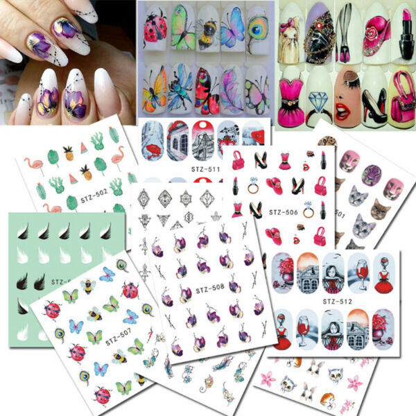 Nail Stickers Butterfly Flower Nail Art DIY Waterproof Adhesive Transfer Decals C $1.20