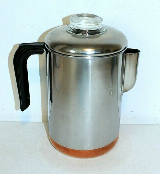 Vintage REVERE WARE Copper Clad Bottom Stainless Steel Coffee Pot PERCOLATOR