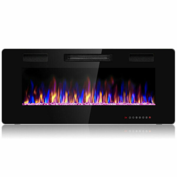 42quot; Electric Fireplace Recessed Ultra Thin Wall Mounted Heater Multicolor Flame $39.85