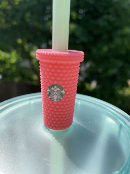Pink Studded Tumbler Straw Topper Buddy 3d Printed for Starbucks Cups