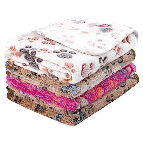 Pedgot 4 Pieces Fluffy Dog Blankets with Paw Print 24 x 16 Inches Soft and Wa... $20.48