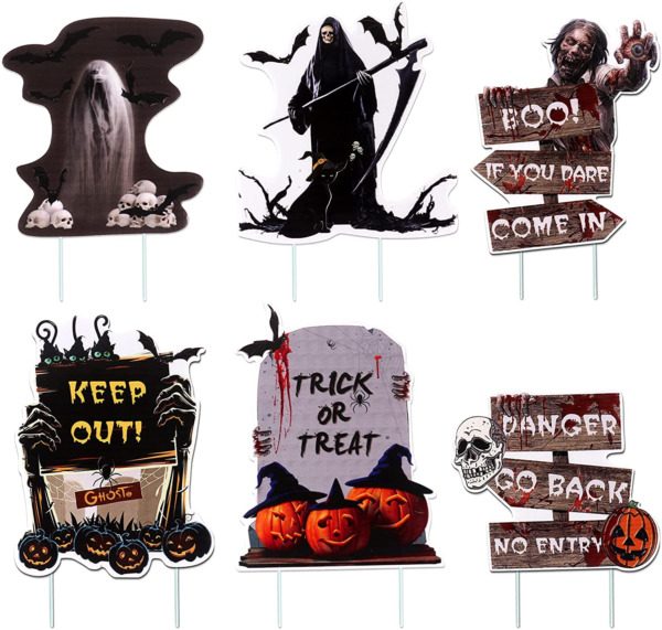 6 Pack Beware Signs Yard Stakes Scary Outdoor Halloween Decorations Yard Signs $11.20