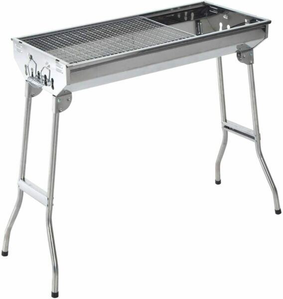 28quot; Stainless Steel Small Portable Folding Charcoal BBQ Grill Set