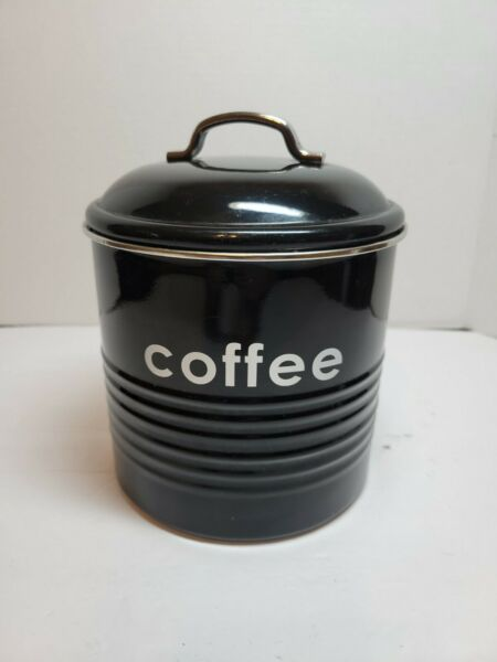 Coffee Storage Canister Kitchen Canisters Jars Pots Jar Container Metal Black