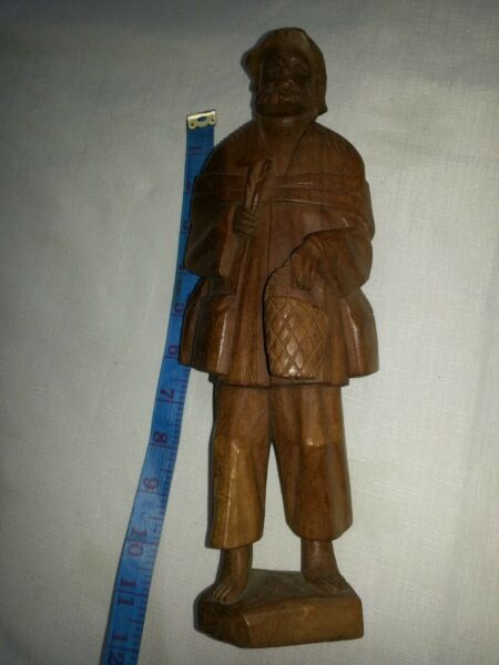 Wooden Black Forest old Hunter Man statue. 11.5quot;