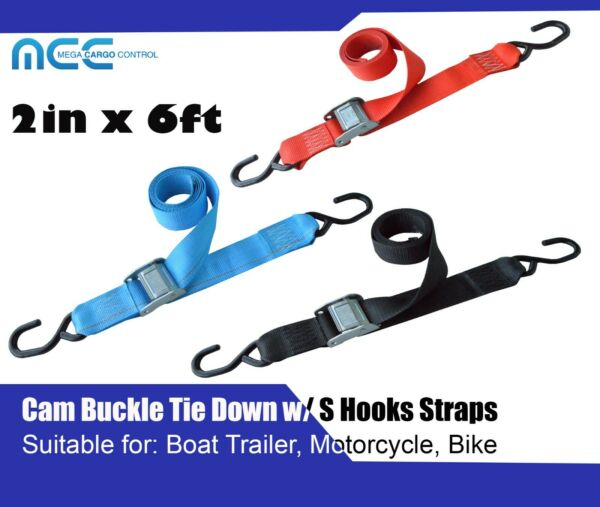 2quot; x 6#x27; Cam Buckle Tie Down Strap w S Hook for Motorcycle Boat Trailer Bike $17.98