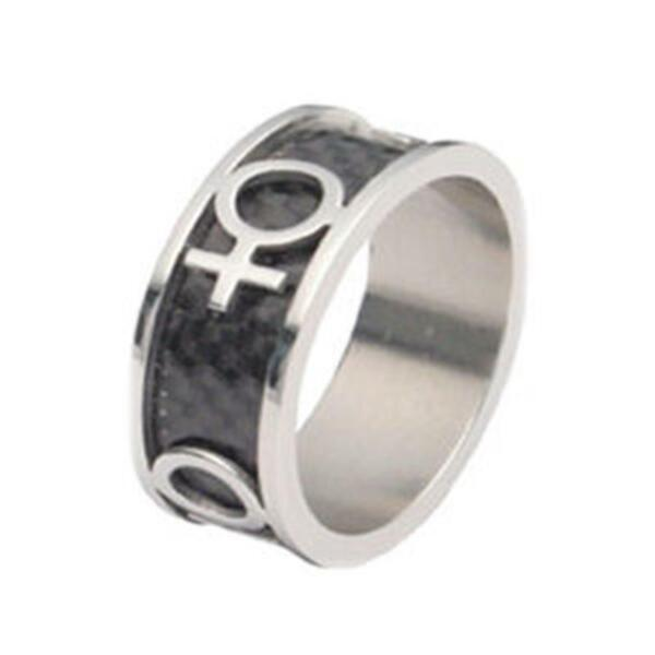 Lesbian Carbon and Stainless Steel Ring Gay Pride $12.99