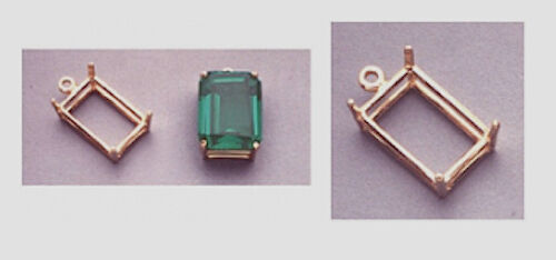 14kt White or Yellow Gold Emerald Dangle Casting (7x5mm-25x18mm)