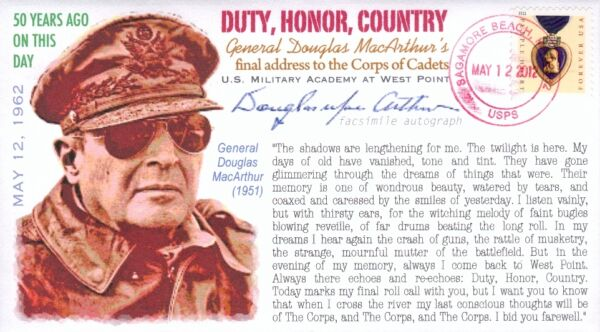 COVERSCAPE computer designed 50th Gen. MacArthur#x27;s quot;Duty Honor Countryquot; cover $2.25