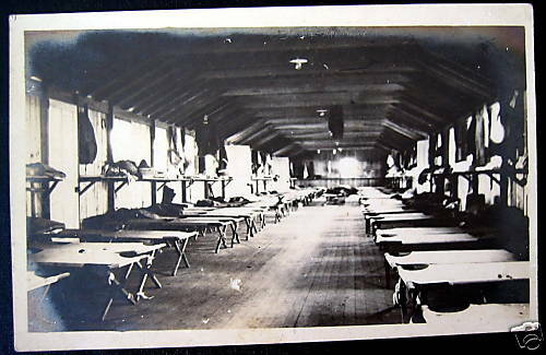France WWI Camp in Tours Military Cots RPPC