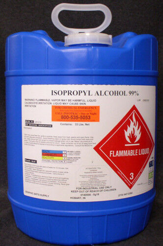 ISOPROPYL ALCOHOL 99.8% PURE HIGH GRADE - NO UPS HAZMAT FEE!  NEW 5 GALLON PAIL