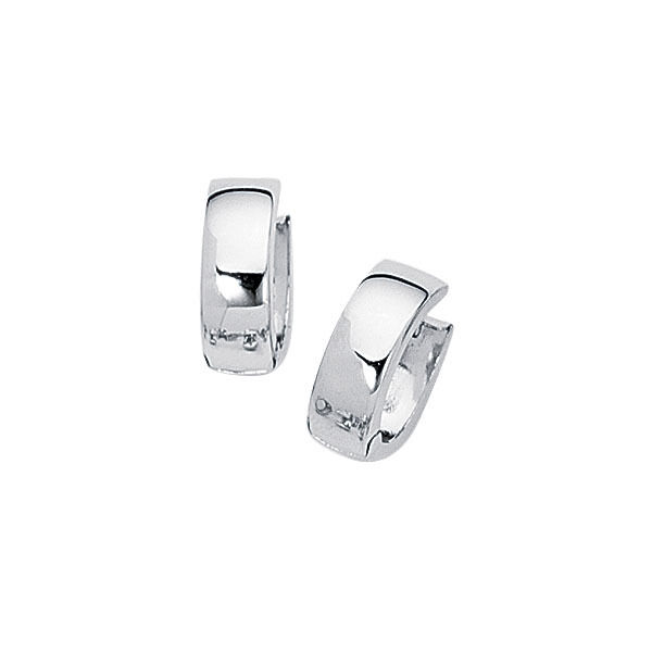 Cute Small Shiny Polished Hoop Huggie Earrings REAL Solid 14K White Gold $142.49