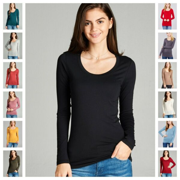 WOMENS PREMIUM SOFT ROUND CREW NECK LONG SLEEVE FITTED T SHIRT TOP WARM S 3X