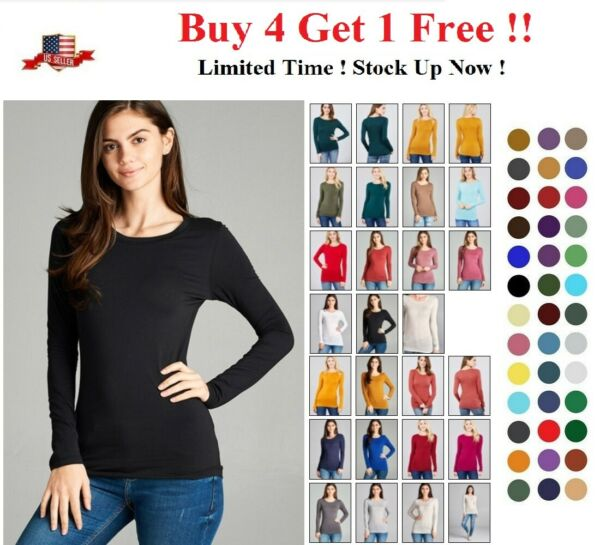 WOMENS CREW NECK LONG SLEEVE BASIC TOP COTTON STRETCH SLIM FITTED T SHIRT S 3X
