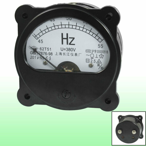 380V 45-55Hz Fine Tuning Dial Panel Analog Frequency Panel Meter Black