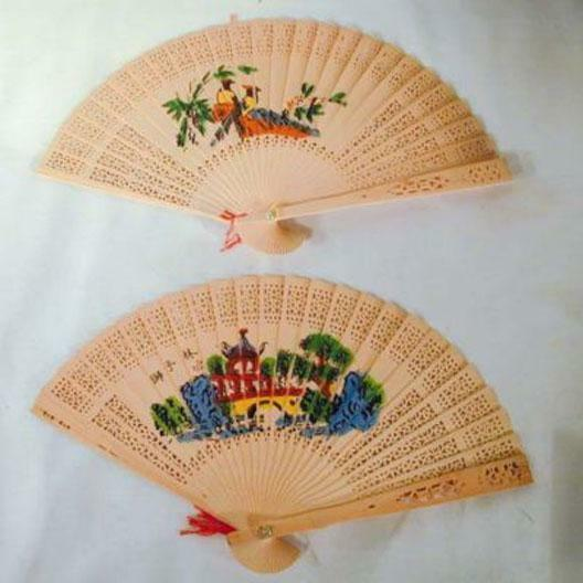 2 WOODEN HAND FAN air cool held purse wood fans cooler novelty womens ladies new $4.99