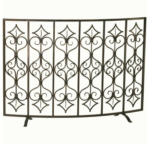 Casablanca French Tuscan Curved Fireplace Fire Screen Iron Cyan Design 04007