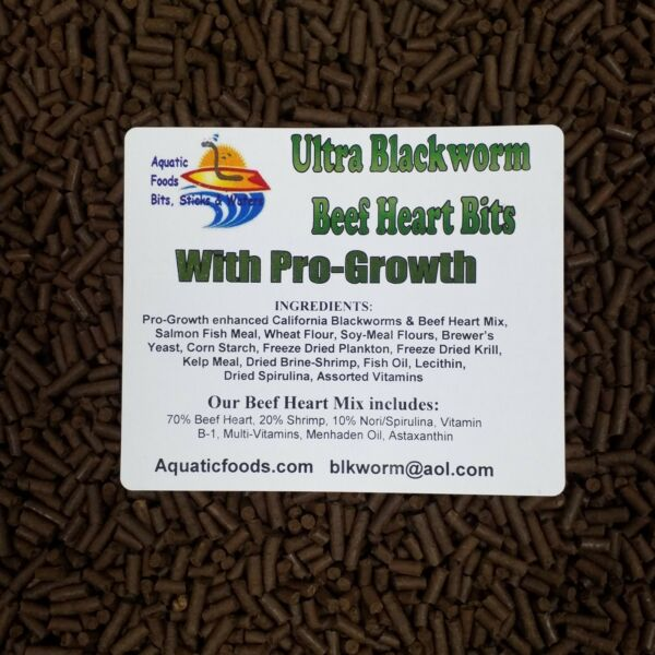 PRO GROWTH Enhanced Blackworm Beef Heart Mix Bits for Discus Cichlids ALL Fish $12.99