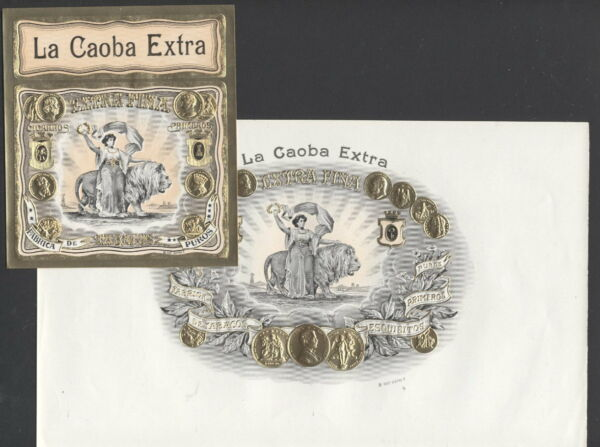 LA5601 SET OF 2 CIGARBOX LABELS LA CAOBA EXTRA WOMAN WITH LION EMBOSSED GOLD